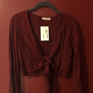 Wine red tie blouse